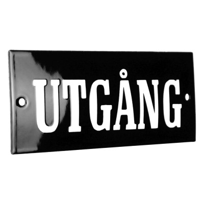 Enamel sign UTGÅNG black - white 12 x 5 cm model 8