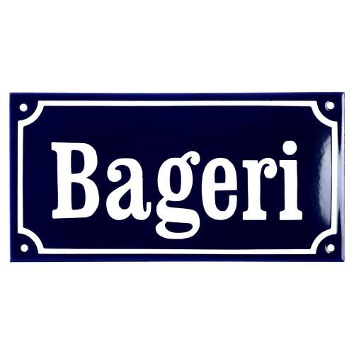 Emaljskylt Bageri blå - vit 24 x 12 cm modell 11