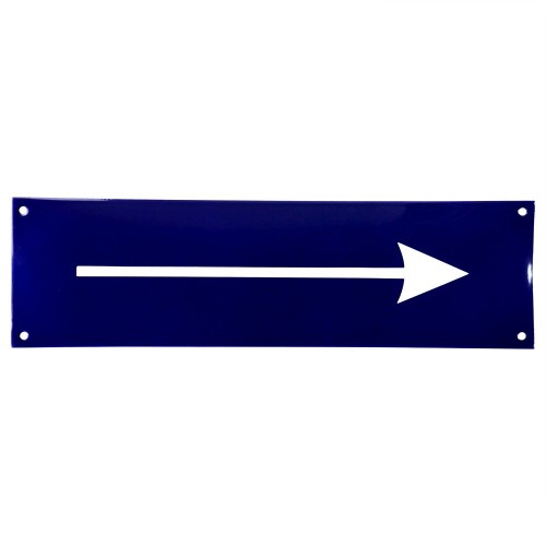 Emaljskylt Arrow blå - vit 35 x 10 cm modell 11