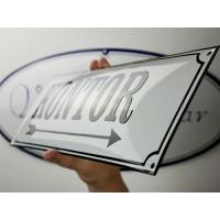 Emaljskylt KONTOR pil höger vit - svart 45 x 15 cm modell 10