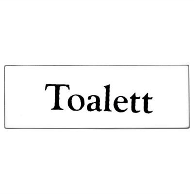 Emaljskylt Toalett vit - svart 6 x 2 cm modell 9