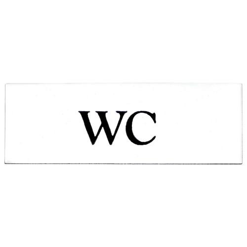 Emaljskylt WC vit - svart 6 x 2 cm modell 9