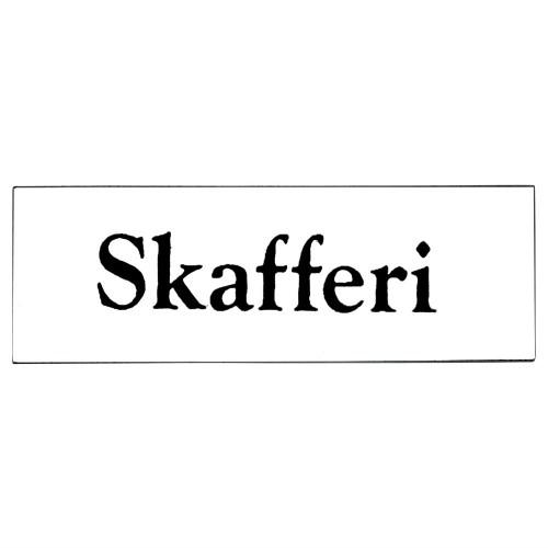 Emaljskylt Skafferi vit - svart 6 x 2 cm modell 9