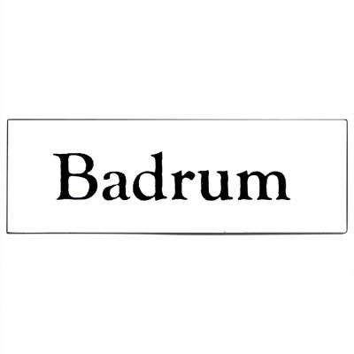 Emaljskylt Badrum vit - svart 6 x 2 cm modell 9