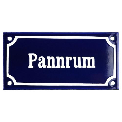 Emaljskylt Pannrum blå - vit 15 x 7,5 cm modell 11