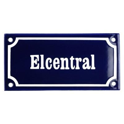 Emaljskylt Elcentral blå - vit 15 x 7,5 cm modell 11