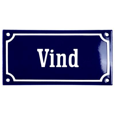 Emaljskylt Vind blå - vit 15 x 7,5 cm modell 11