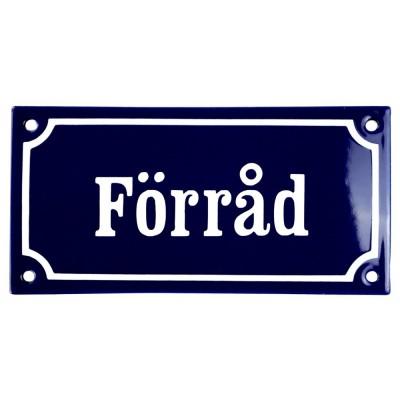 Emaljskylt Förråd blå - vit 15 x 7,5 cm modell 11