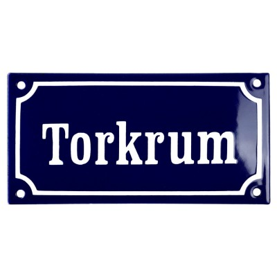 Emaljskylt Torkrum blå - vit 15 x 7,5 cm modell 11