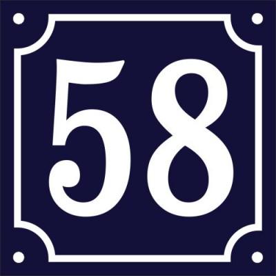Emaljskylt 58 blå - vit 12 x 12 cm modell 11