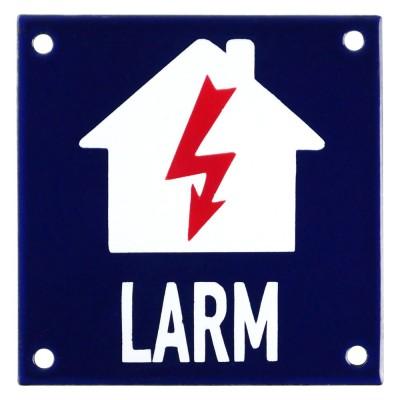 Emaljskylt LARM blixt blå - vit 10 x 10 cm modell 34