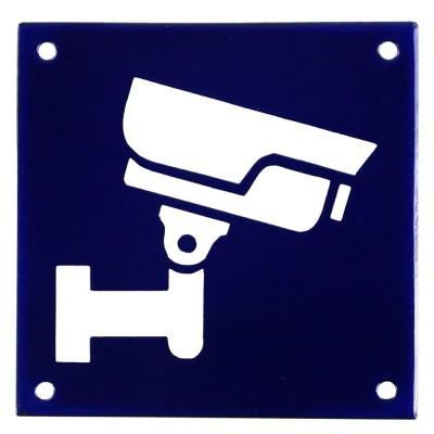 Emaljskylt CCTV blå - vit 10 x 10 cm modell 34