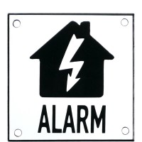 Enamel sign ALARM flash white - black 10 x 10 cm model 35