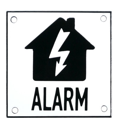 Emaljskylt ALARM flash vit - svart 10 x 10 cm modell 35