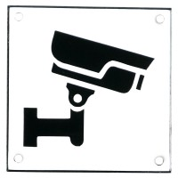 Enamel sign CCTV white - black 10 x 10 cm model 35