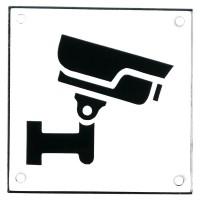Emaljskylt CCTV vit - svart 10 x 10 cm modell 35