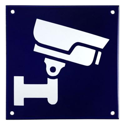 Emaljskylt CCTV Large blå - vit 15 x 15 cm modell 34