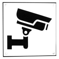 Enamel sign CCTV Large white - black 15 x 15 cm model 35