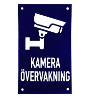 Enamel sign KAMERA ÖVERVAKNING blue - white 12 x 20 cm model 34