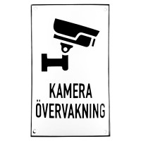 Enamel sign KAMERA ÖVERVAKNING white - black 12 x 20 cm model 35