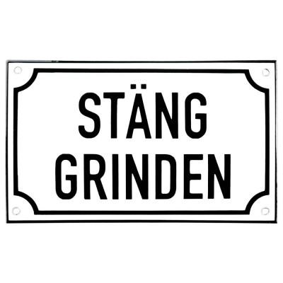 Emaljskylt STÄNG GRINDEN vit - svart 20 x 12 cm modell 39