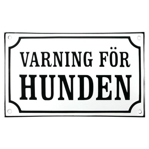 Emaljskylt VARNING FÖR HUNDEN vit - svart 20 x 12 cm modell 10