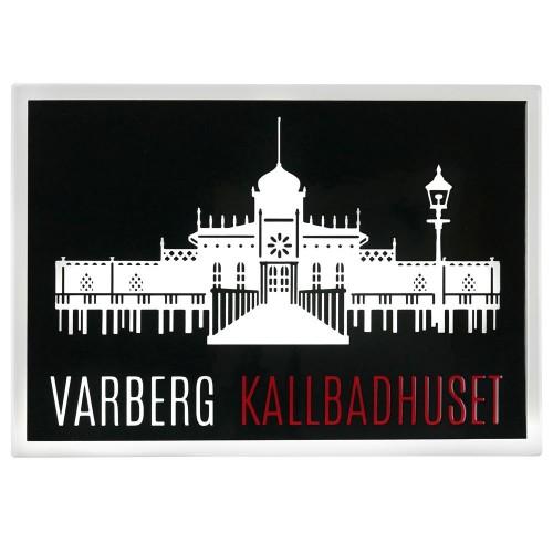 Emaljmotiv Varberg kallbadhus svart - vit  x  cm modell S1