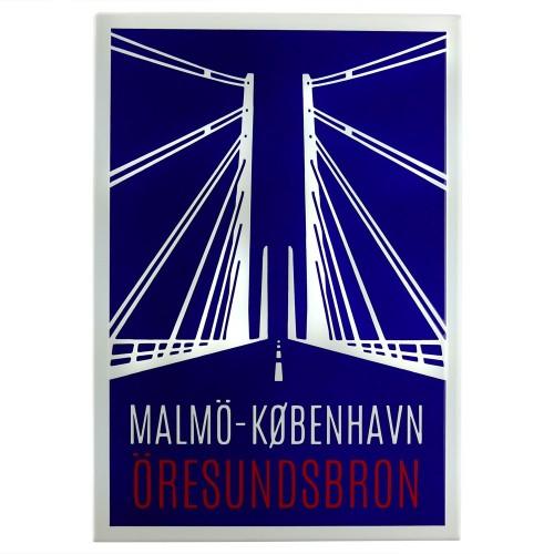 Emaljmotiv Öresundsbron blå - vit  x  cm modell S1