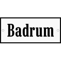 Emaljskylt Badrum vit - svart 12 x 5 cm modell 4
